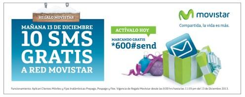 Regalo MOVISTAR 10 SMS gratis a red movistar - 12dic13