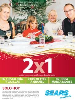 SEARS promocion de hoy 2x1 en cristaleria chocolates ropa MOOSE - 13dic13