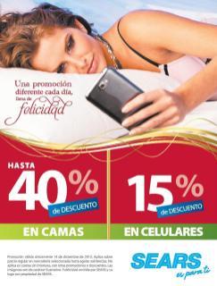 SEARS promociones de hoy camas y celulares -14dic13