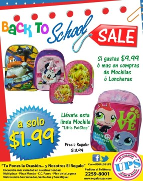 Back to shool SALE regalos UPS el salvador