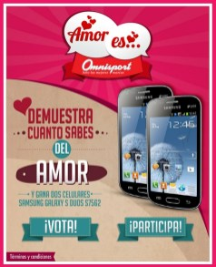 AMOR ES promocion OMNISPORT gana celulares SAMSUNG