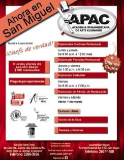 APAC academia panamericana de arte culinario SAN MIGUEL