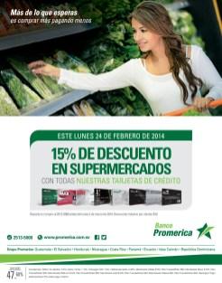 Descuentos en SUPERMERCADOS tarjetas BANCO PROMERICA el salvador - 24feb14