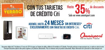 Promocion Verano Tarjetas de Credito BANCO CITI y OMNISPORT - 27feb14