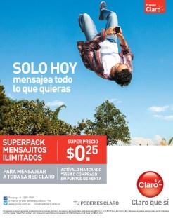 Superpack mensajitos ilimitados red CLARO el salvador - 17feb14