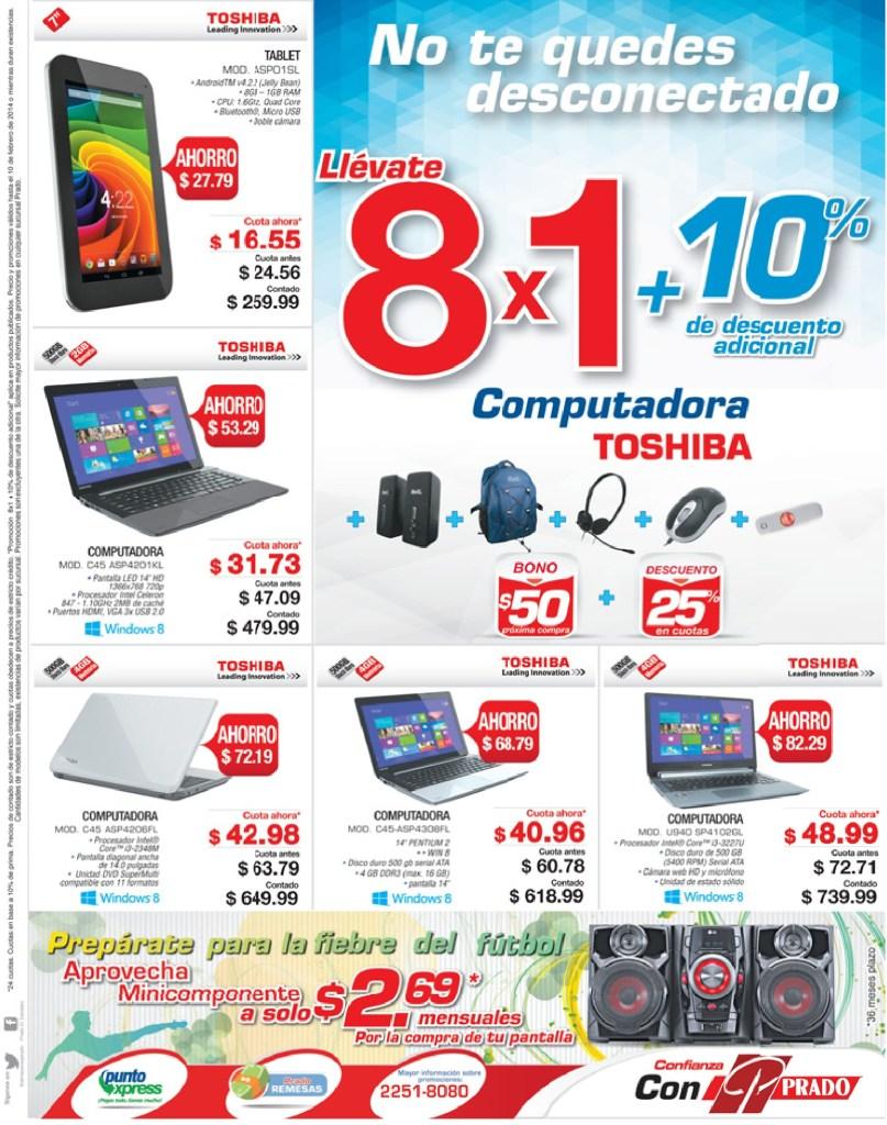 Toshiba computers and TABLETS discounts promotion PRADO el salvador