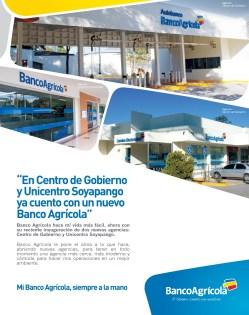 nuevo Banco Agricola unicentro soyapango y centro de gobierno