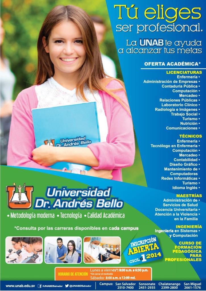 tu eliges ser profesional Universidad Andres Bello el salvador