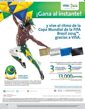 FIFA world cup BRASIL 2014 gana al instante con BAC Credomatic