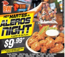 HOY martes ALEROS NIGHT buffalo wings - 25mar14
