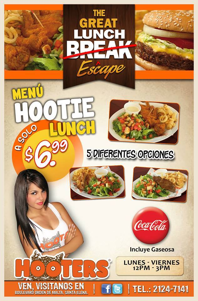 Menu HOOTIE lunch mas coca cola gracias a HOOTERS