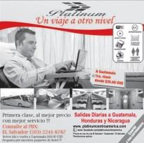 Primera clase BUS platinium GUATEMALA HONDURAS Nicaragua El Salvador