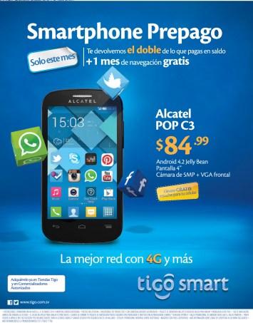 Smartphone Prepago ALCATEL POP C3 android TIGO sv