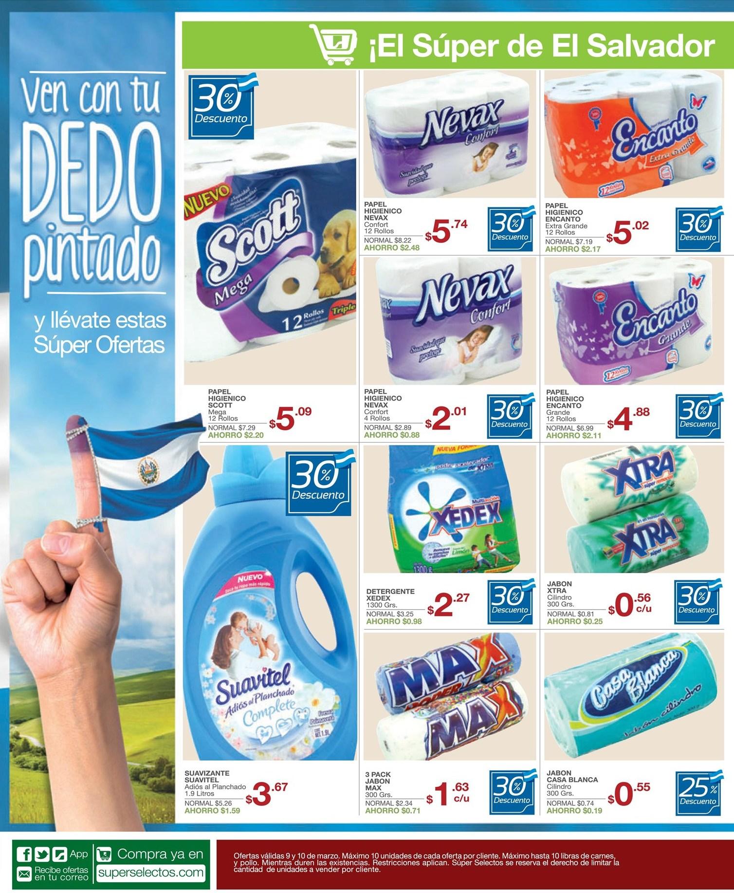 Supermercado EL SALVADOR ofertas descuento promociones SUPER SELECTOS - 09mar14
