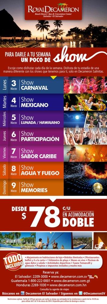 fabulosos shows verano 2014 ROYAL DECAMERON el salvador Marzo 2014