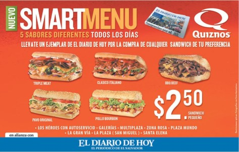 quiznos smart menu ofertas y promociones