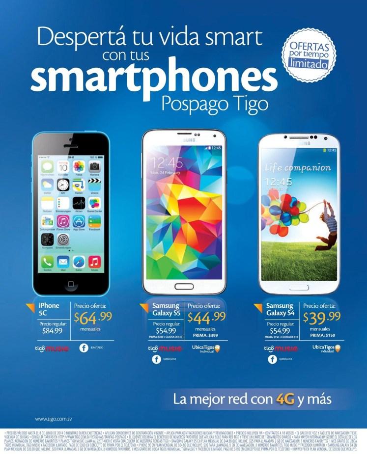 Ofertas por tiempo llimitado SMARTPHONE postpago TIGO - 05jun14