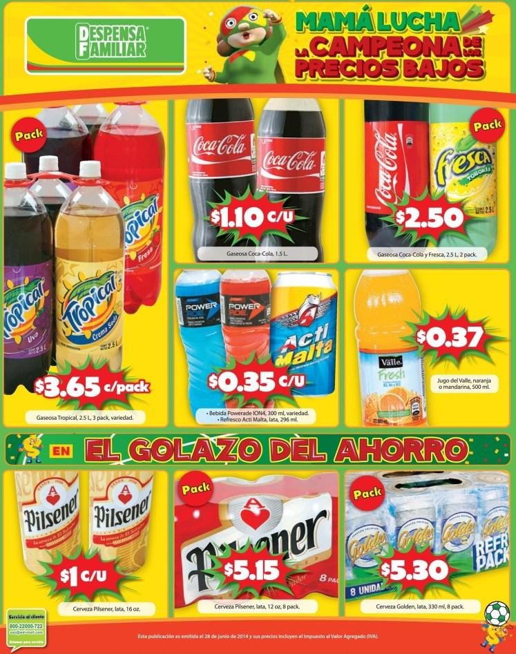 oertas en bebidas gaseosas y cervezas DESPENSA FAMILIAR - 28jun14