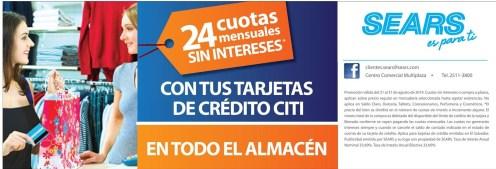 Beneficios tarjetas de credito CITI en SEARS - 23ago14