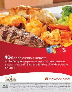 LA PAMPA Descuento con tarjetas de credito DAVIVIENDA - 23sep14