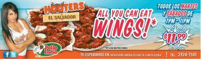 Promociones HOOTERS el salvador ALL you can EAT WINGS - 19sep14