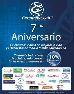 Descuento por aniversario productos farmaceuticos Genomma Lab