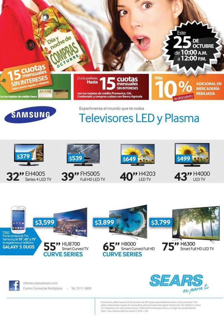 Dia y noche de compras descuento en televisores LED y PLASMA - 25oct14
