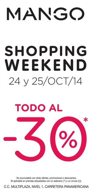 MANGO shopping weekend discounts MULTIPLAZA - 24oct14