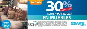 MUEBLES con 30 OFF descuento SEARS - 22oct14