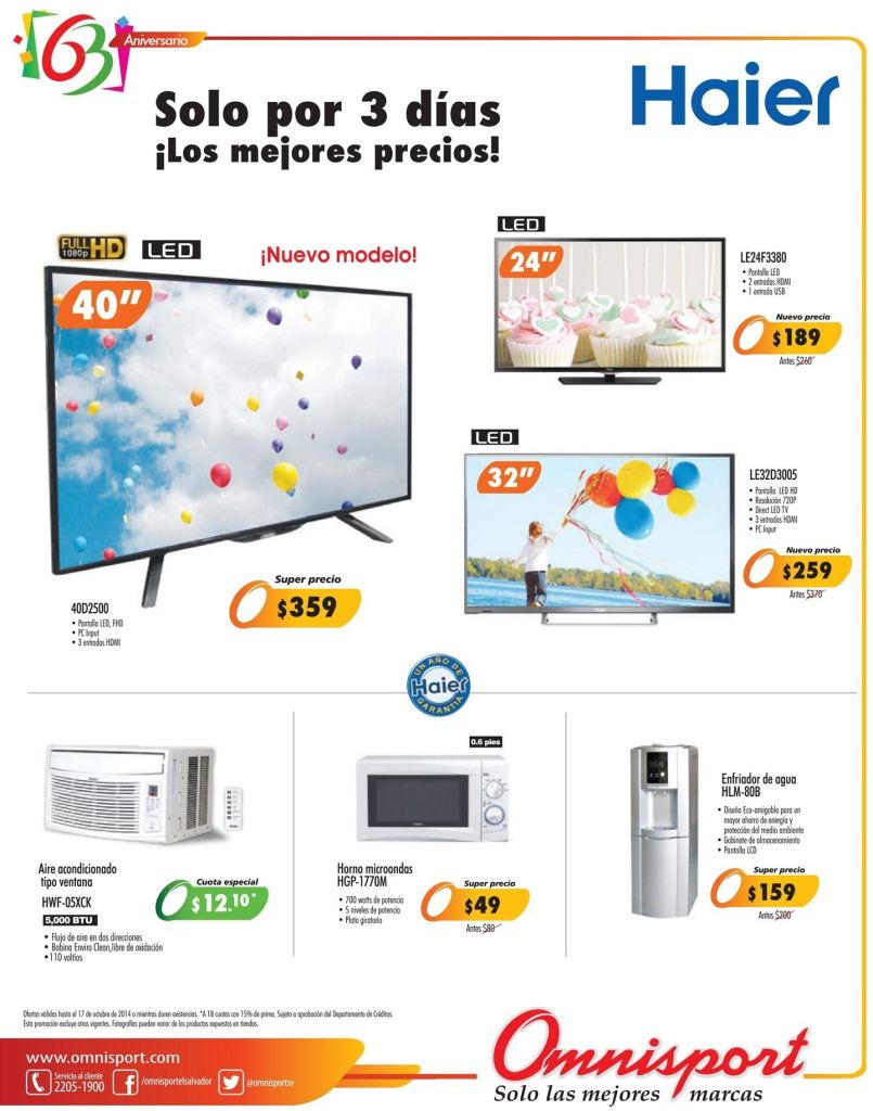 Ofertas HAIER electric TV omnisport promociones - 15oct14