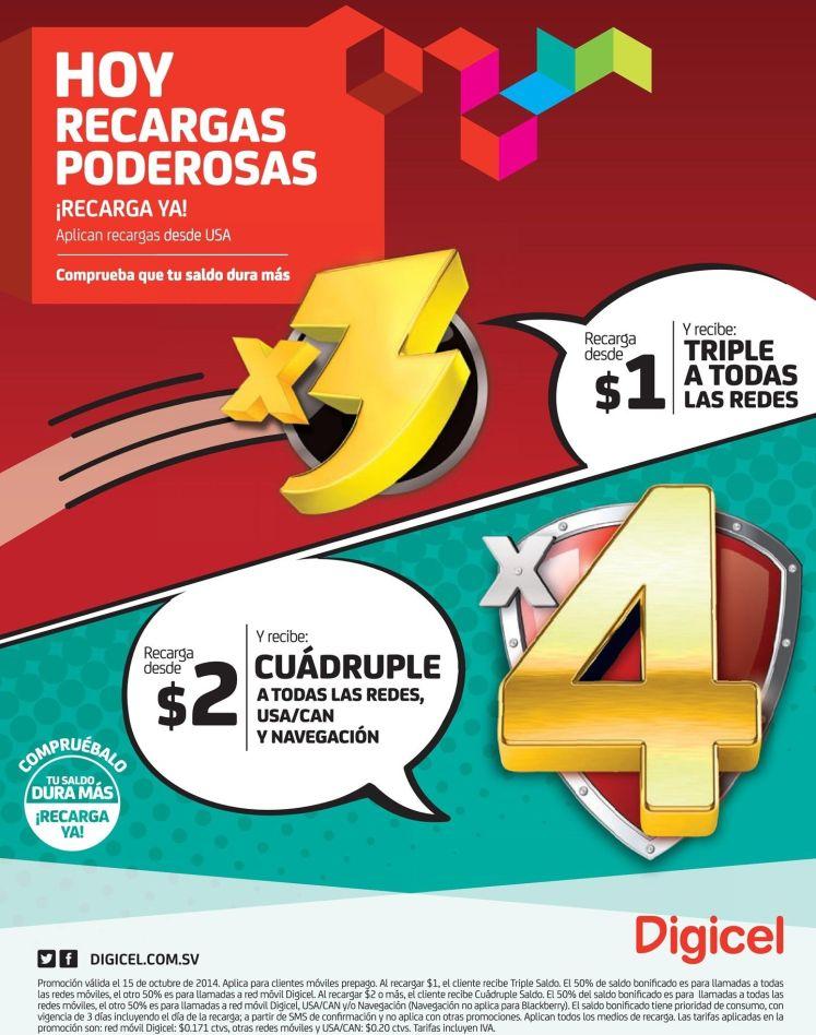 Promociones de recarga DIGICEL el salvador ofertas - 15oct14
