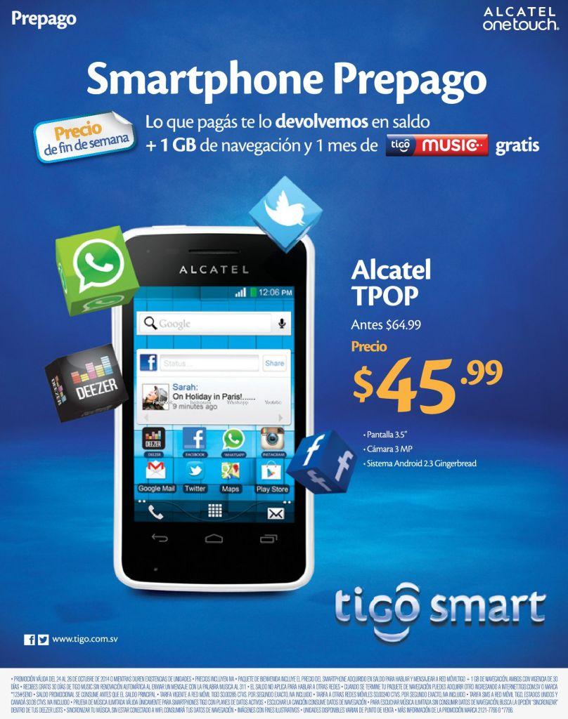 TIGO Celular REBAJDO alcatel TPOP - 24oct14