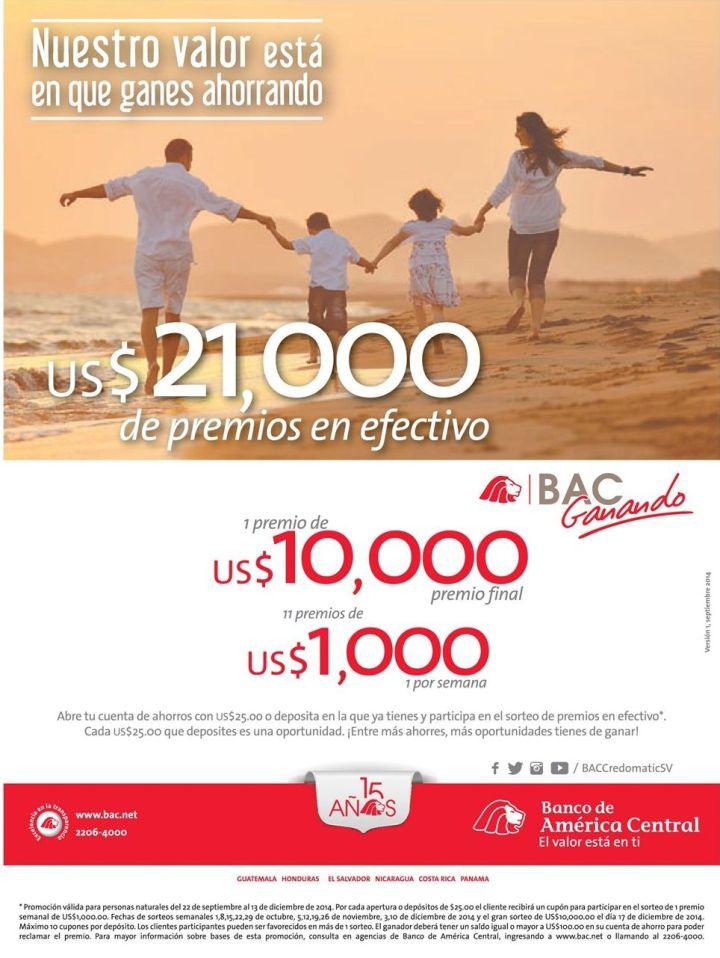 ahorro Promociones Banco de maerica central el salvador - 17oct14