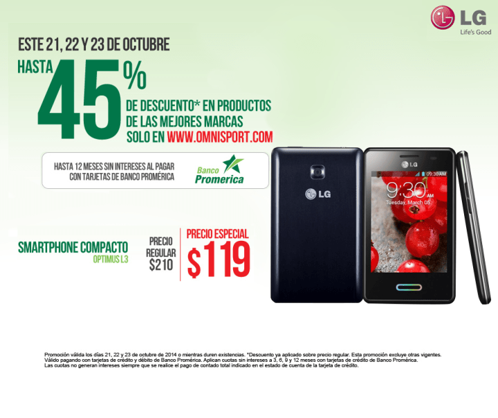 discount SMARTPHONE compacto LG optimus L3 - 23oct14