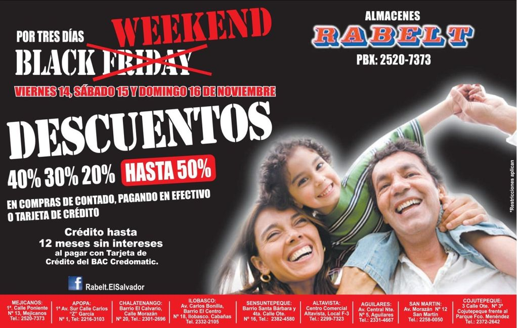 BLACK WEEKEND descuentos Almacenes RABELT - 11nov14