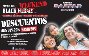 BLACK WEEKEND descuentos Almacenes RABELT - 11nov14