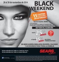 NO faltes al black weekend de SEARS - 28nov14