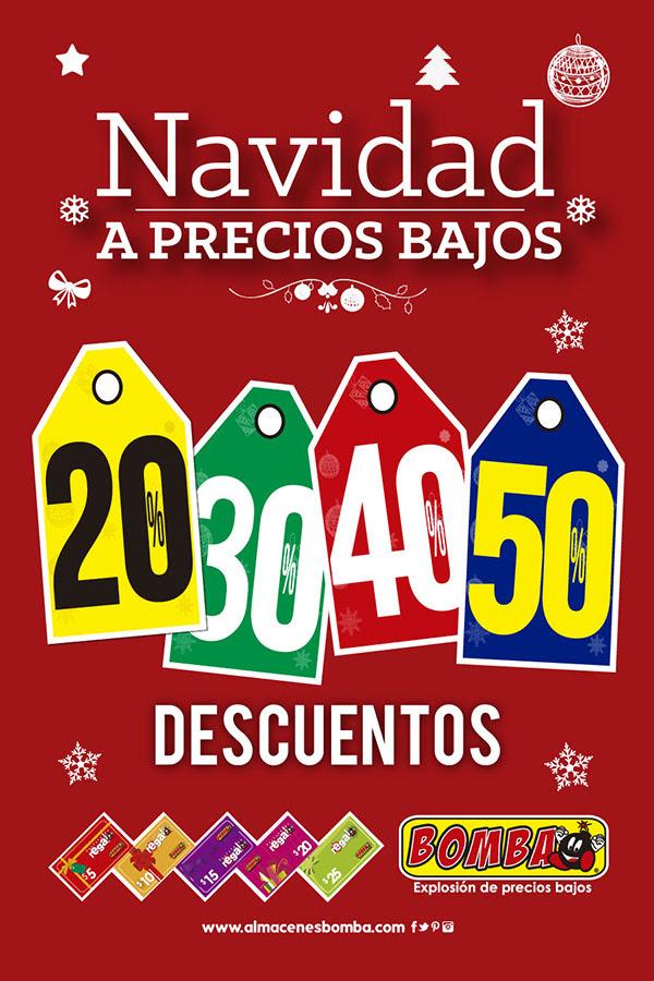 Navidad precios BAJOS almacenes BOMBA gift cards.