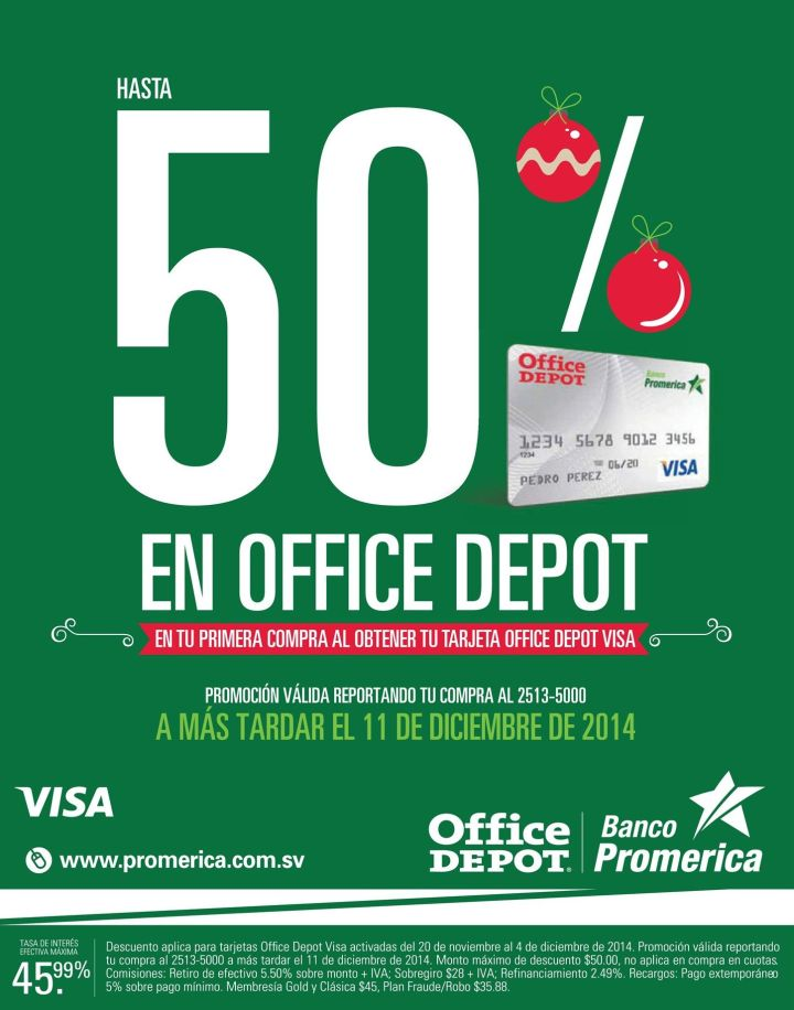 OFFICE DEPOT discounts gracias a banco promerica - 20nov14