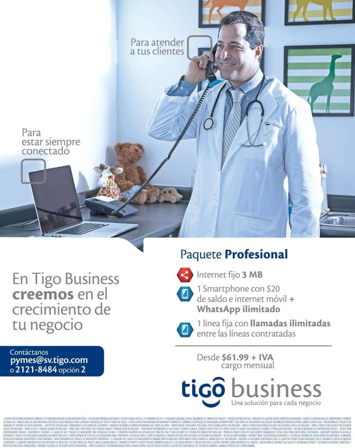 Professional package TIGO BUSINESS telefono movil internet - 04nov14