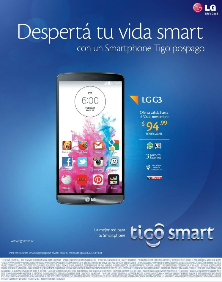 TIGO Sartphone de alto rendimiento LG G3