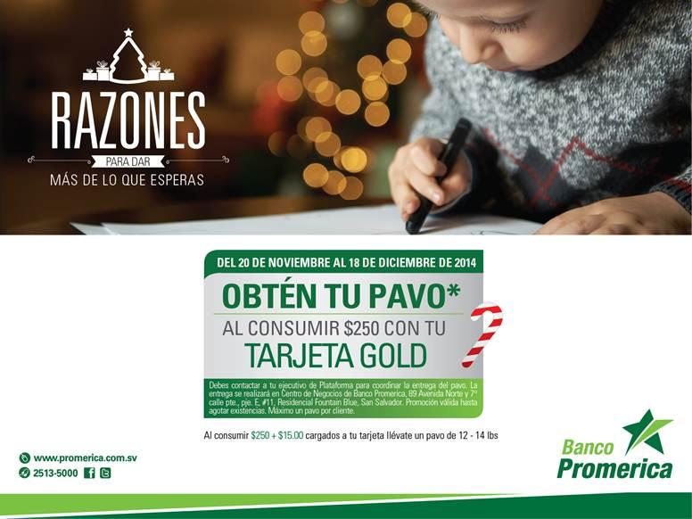 Tarjeta GOLD banco promerica te regala PAVOS