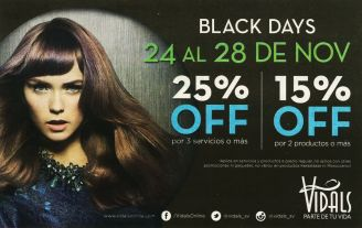 VIDALS salon discounts BLACK DAYS - 24nov14