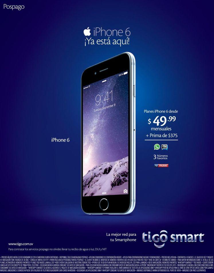 iPhone 6 plan postpago tigo desde 49.99 dolares - 26nov14