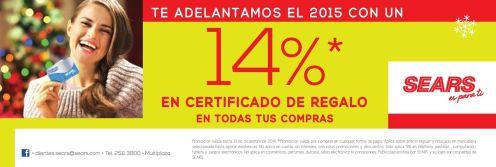SEARS descuentos en certificados de regalo - 27dic14