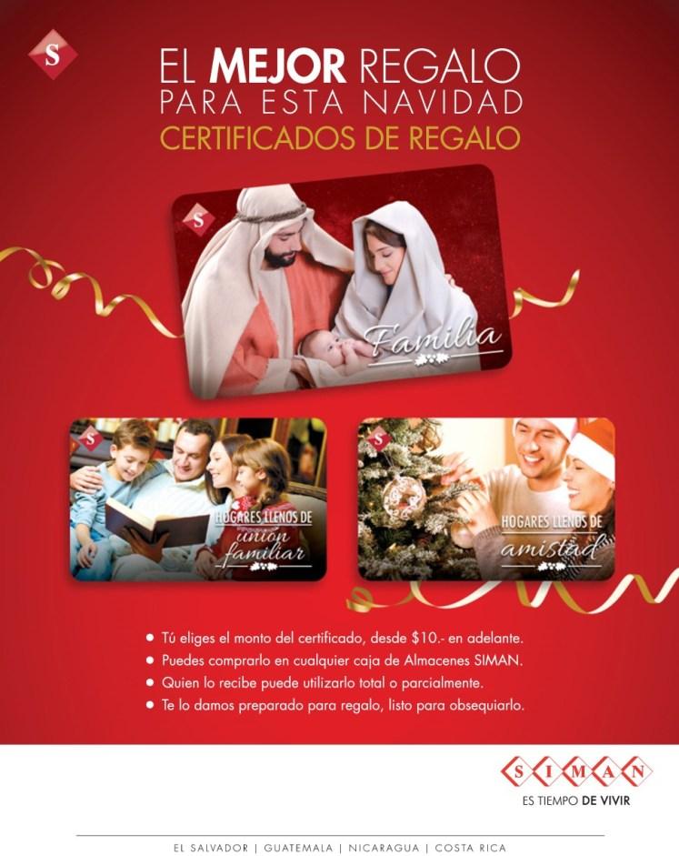 SIMAN centroamerica certificados de regalo en navidad
