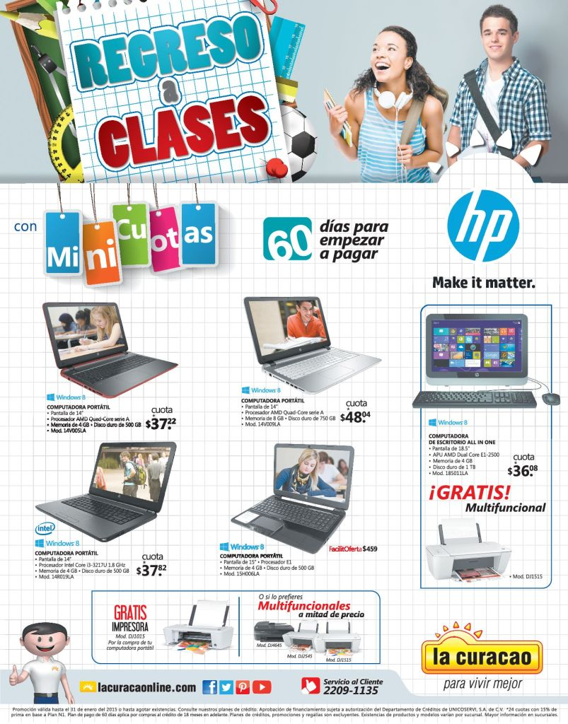 Regreso a clases HP computers with WINDOWS 8 systems - 02ene15