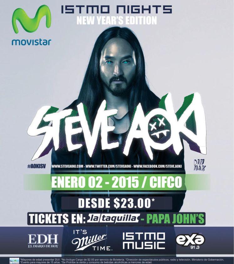 TONIGHT in el salvador STEVE AOKI show - 02ene15