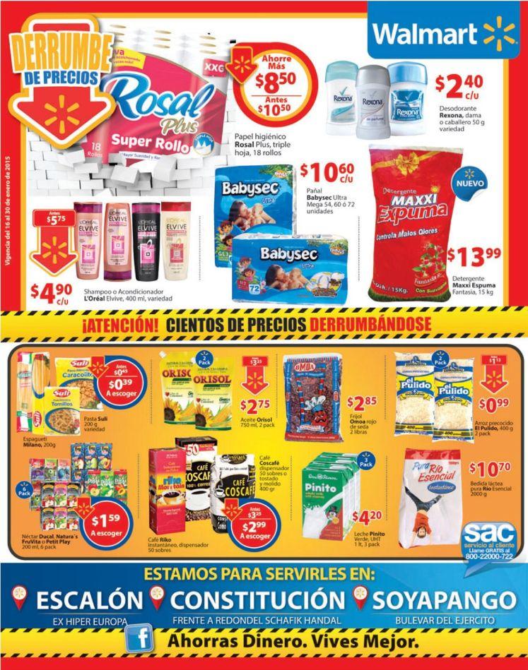 WALMART soyapango DERRUMBE DE PRECIOS consitucion y escalon - 16ene15