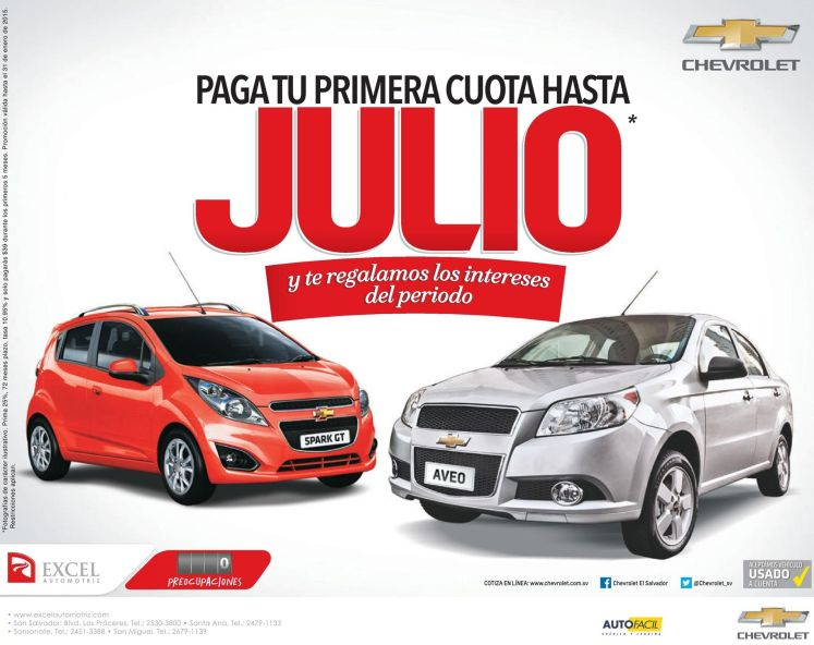 cars deals promtoions CHEVROLET SPARK and AVEO - 22ene15